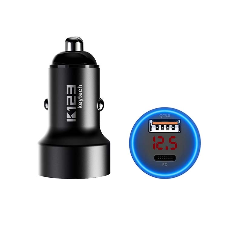 K123 car adapter 5A PD 3.0 USB TYPE C car charger 36W metal charger fast car charger Aluminium