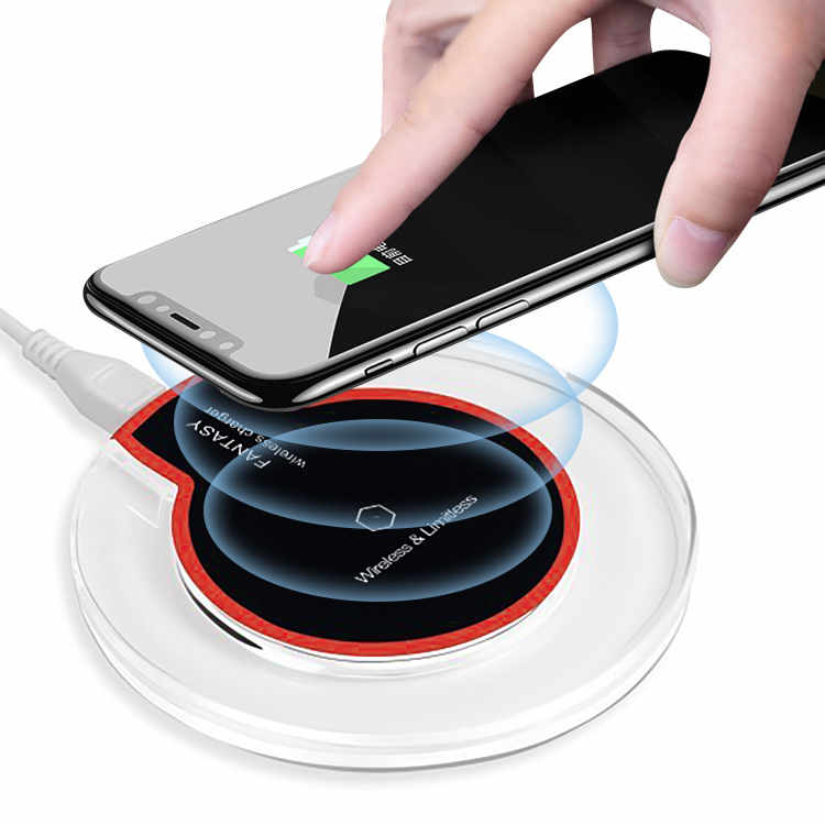 Universal Qi 5W Crystal Wireless Charger With Light for iPhone Samsung Phone