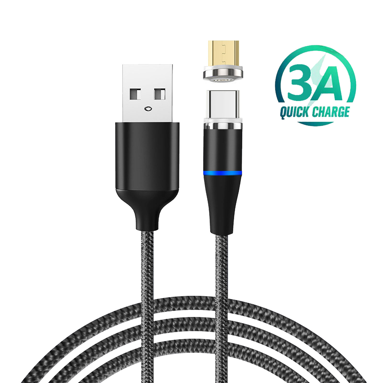 KMC-002 3A Fast Charging USB Cable Type C Mico Android Mobile Phone Charger Cable Cell Phone 3 in 1 Charging Magnetic USB Cable